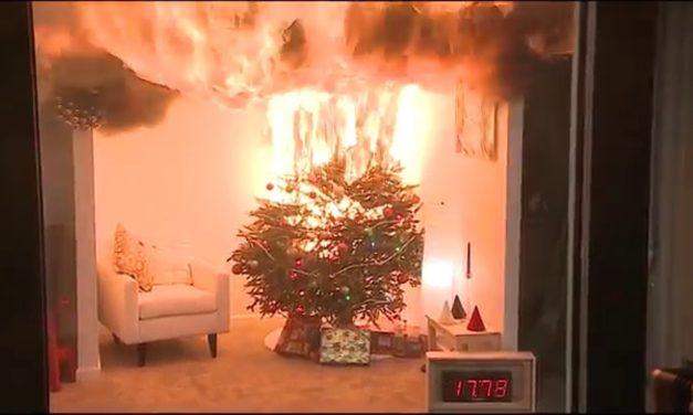 Βίντεο: Χριστουγεννιάτικο δέντρο λαμπαδιάζει σε δευτερόλεπτα – Συμβουλές της Πυροσβεστικής