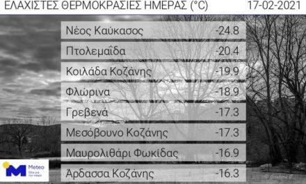 Ελλάδα όπως… Αλάσκα: Έως -25 βαθμούς η θερμοκρασία στη Δυτική Μακεδονία το πρωί της Τετάρτης