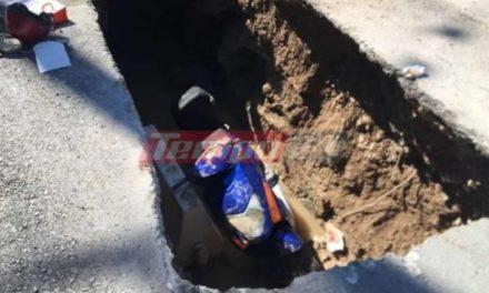 Πάτρα: Έπεσε με το μηχανάκι της σε φρεάτιο – Στο νοσοκομείο η 62χρονη οδηγός /ΒΙΝΤΕΟ