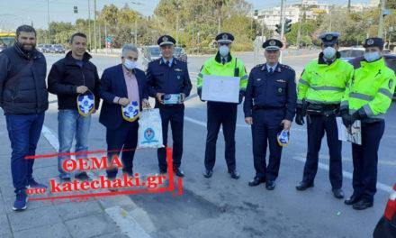 Προσφορά μάσκες και γάντια σε τροχονόμους και αστυνομικά τμήματα
